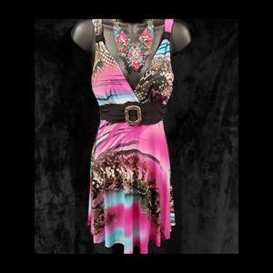 Dresses & Skirts - Pink/Blue Printed Summer Dress